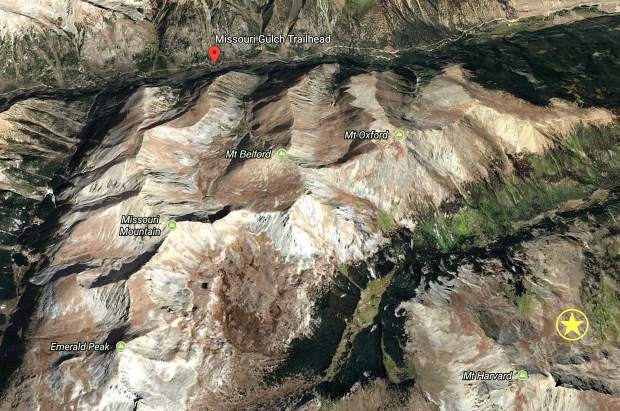 A Google Earth image showing the Missouri Gulch trailhead and Colorado 14er Missouri Mountain. The star logo shows the vicinity of where Shuei Kato was found Tuesday afternoon.