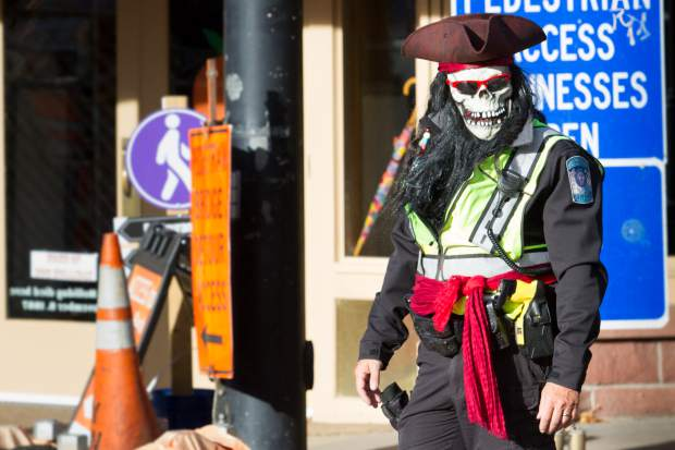 Glenwood Springs Liutenant Bill Kimminau returned from Davy Jones's Locker to help direct traffic during the early evening rush hour on Tuesday.