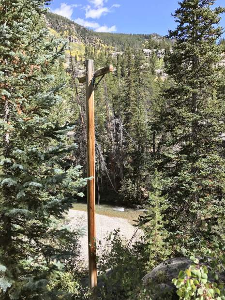 Old telephone lines cross the Roaring Fork River east of Aspen and intrude into the Collegiate Peaks Wilderness at Places.