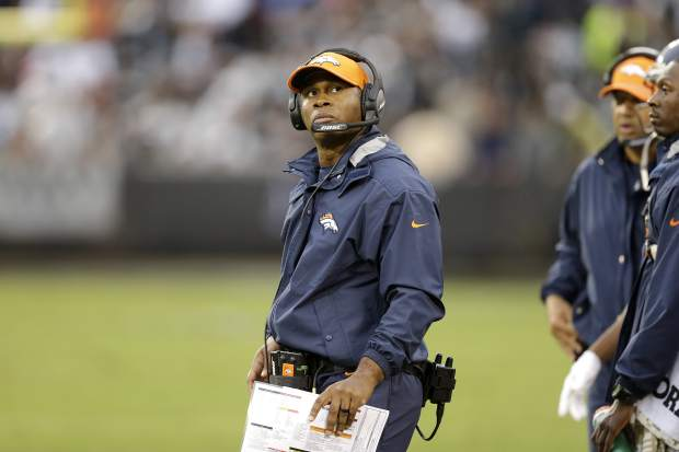Denver Broncos head coach Vance Joseph watches from the sideline during the second half of an NFL football game against the Oakland Raiders in Oakland, Calif., Sunday, Nov. 26, 2017. (AP Photo/Ben Margot)