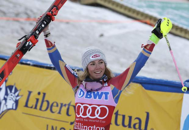 Mikaela Shiffrin, of the United States, celebrates after completing her second run for a first place finish in the women's FIS Alpine Skiing World Cup slalom race on Sunday, Nov. 26, in Killington, Vermont.
