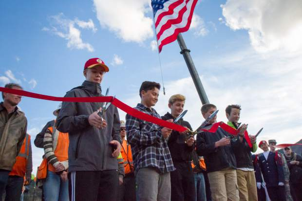 Glenwood Springs Middle School students Dylan West, Cooper Proctor, Elias Gardner, Tom Barton and Forest Williams were the honorary ribbon cutters during the ceremony on Monday evening.