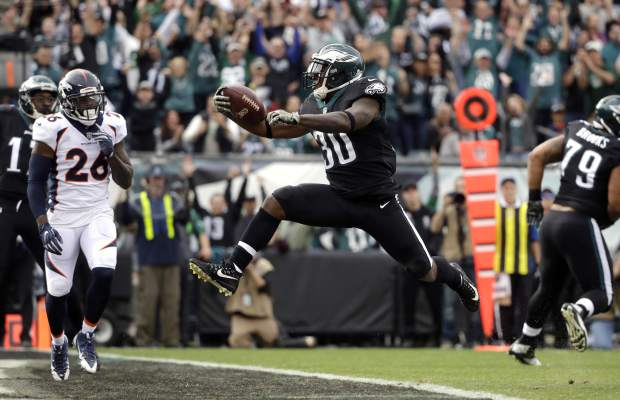 Philadelphia Eagles' Corey Clement scores a touchdown during the first half of an NFL football game against the Denver Broncos, Sunday, Nov. 5, 2017, in Philadelphia. (AP Photo/Matt Rourke)