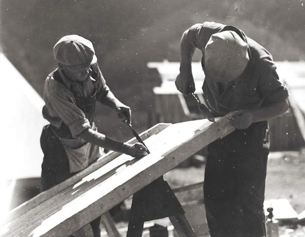 CCC crew members building camp infrastructure at the Tigiwon camp south of Minturn in this photo taken sometime between 1936-39.