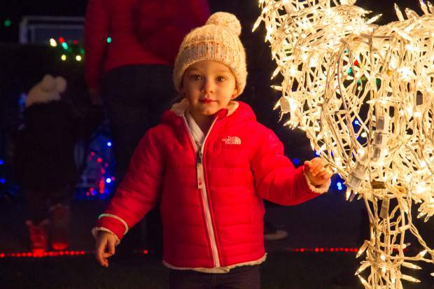 Two-year-old Charlie Van-Horn visits Glenwood Springs from Aurora for the 28th annual Festival of Lights at the Hotel Colorado on Friday evening.