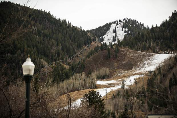 Before the storm — Aspen Mountain requires significant natural and man-made snow before top-to-bottom skiing can be offered. Officials are hopeful Friday's storm will deliver.