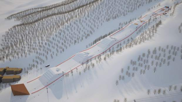 An overview of the Olympic Slopestyle Course to be used in February's 2018 Pyeongchang Winter Olympic Games at Bokwang Phoenix Park Ski Resort.