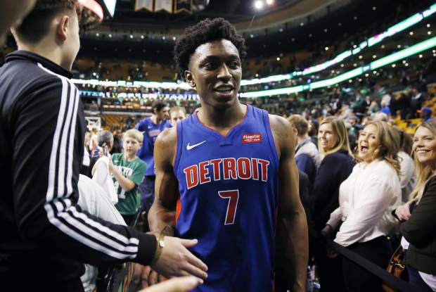 Detroit Pistons' Stanley Johnson leaves the court after defeating the Boston Celtics 118-108 during an NBA basketball game in Boston, Monday, Nov. 27, 2017. (AP Photo/Michael Dwyer)
