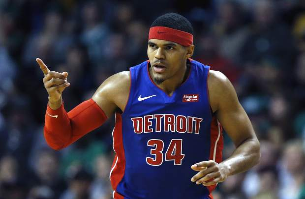 Detroit Pistons' Tobias Harris celebrates his three-pointer during the second quarter of an NBA basketball game against the Boston Celtics in Boston, Monday, Nov. 27, 2017. (AP Photo/Michael Dwyer)