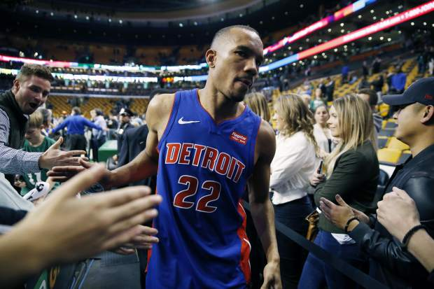 Detroit Pistons' Avery Bradley leaves the court after defeating the Boston Celtics 118-108 during an NBA basketball game in Boston, Monday, Nov. 27, 2017. (AP Photo/Michael Dwyer)