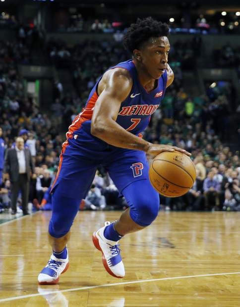 Detroit Pistons' Stanley Johnson dribbles during the third quarter of an NBA basketball game against the Boston Celtics in Boston, Monday, Nov. 27, 2017. The Pistons won 118-108. (AP Photo/Michael Dwyer)