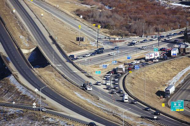 Congested traffic at the intersection of Highway 9 and Interstate 70 due to a fatal semi crash on the interstate Tuesday, Dec. 12, in Silverthorne.