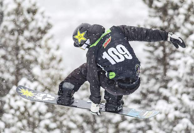 Gabe Ferguson of the United States competes in the snowboard superpipe qualifiers during the Dew Tour event Thursday, Dec. 14, at Breckenridge Ski Resort. Ferguson qualified for Friday's final in third place with a score of 78.33, five points behind older brother and first place qualifier Ben Ferguson (83.33).