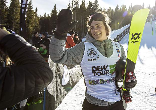 Hunter Hess of United States is greeted by his friends at following the team challenge superpipe competition Sunday, Dec. 17, at Breckenridge Ski Resort.