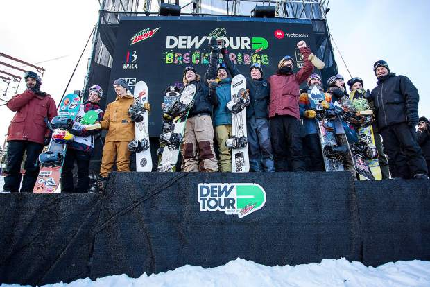 Snowboard Team Challenge at the podium during the Dew Tour event Sunday, Dec. 17, at Breckenridge Ski Resort.