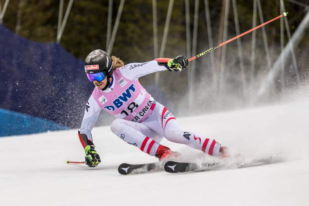 Manuel Feller, of Austria, opens it up in the Harrier section of the Birds of Prey World Cup giant slalom during his second run on Sunday in Beaver Creek. Feller just missed the podium in fourth.
