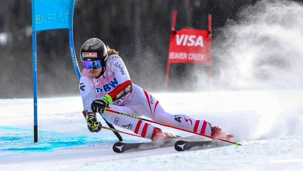 Stefan Luitz. of Germany, celebrates after taking third in the Giant Slalom for the Birds of Prey World Cup on Sunday, Dec. 3, in Beaver Creek.