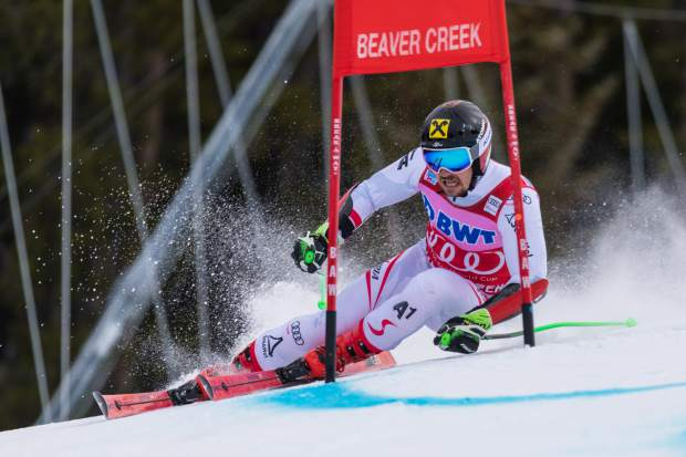 Marcel Hirscher, of Austria, blasts through a gate in the Harrier section of the Birds of Prey World Cup giant slalom on Sunday, Dec. 3 in Beaver Creek. Hirscher took home gold with a time of 2 minutes, 37.30 seconds.