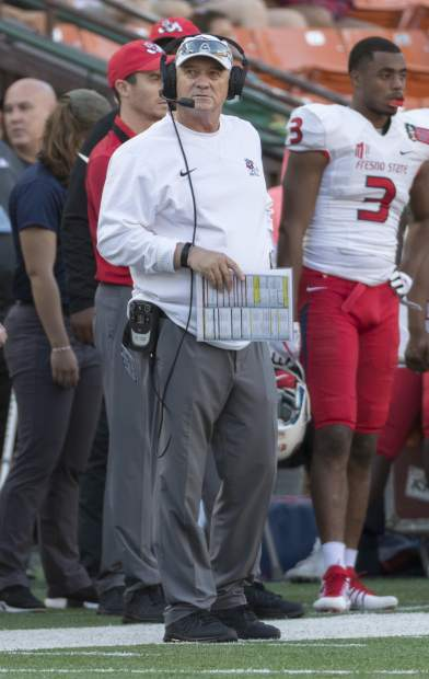 Fresno State head coach Jeff Tedford looks up at the scoreboard in the first half of the Hawaii Bowl NCAA college football game, Sunday, Dec. 24, 2017, in Honolulu. (AP Photo/Eugene Tanner)