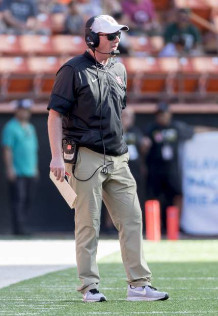 Houston head coach Major Applewhite looks on as his team plays Fresno State in the first half of the Hawaii Bowl NCAA college football game Sunday, Dec. 24, 2017, in Honolulu. (AP Photo/Eugene Tanner)