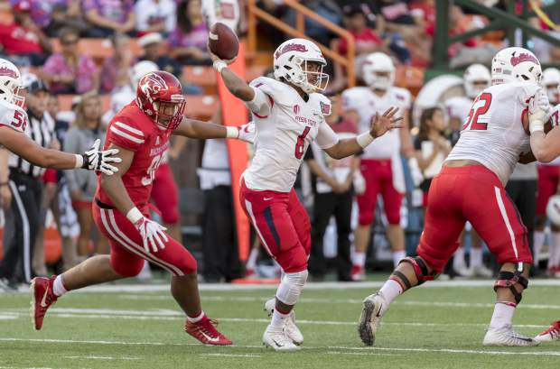 Fresno State quarterback Marcus McMaryion (6) throws a pass while playing against Houston in the first half of the Hawaii Bowl NCAA college football game, Sunday, Dec. 24, 2017, in Honolulu. (AP Photo/Eugene Tanner)