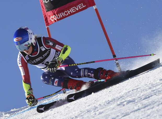 United States's Mikaela Shiffrin competes during an alpine ski, women's World Cup giant slalom in Courchevel, France, Tuesday, Dec. 19, 2017. (AP Photo/Marco Tacca)