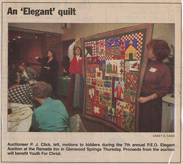 In 1999, the Glenwood Post depicted P.E.O.'s Elegant Auction. The local chapter is now 100 years old.