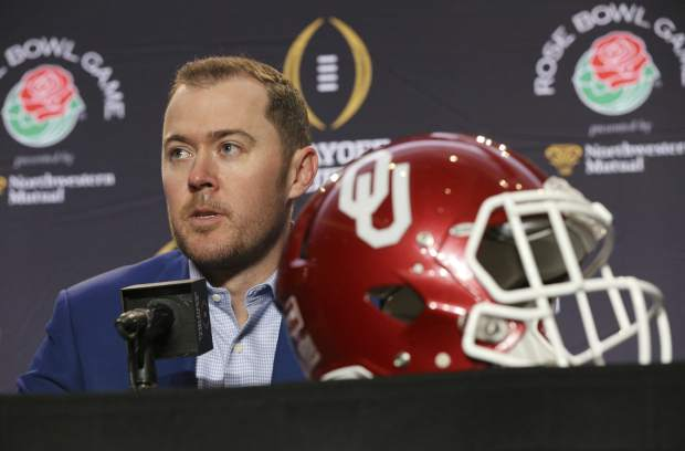 Oklahoma head coach Lincoln Riley answers questions at an NCAA college football news conference, Sunday, Dec. 31, 2017, in Los Angeles. Oklahoma and Georgia meet at the Rose Bowl in a College Football Playoff semifinal on New Year's Day. (Curtis Compton/Atlanta Journal-Constitution via AP)