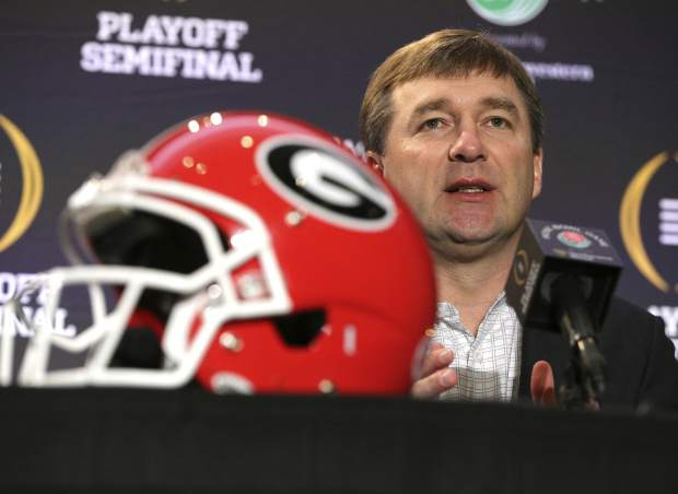 Georgia head coach Kirby Smart answers questions at an NCAA college football news conference, Sunday, Dec. 31, 2017, in Los Angeles. Oklahoma and Georgia meet at the Rose Bowl in a College Football Playoff semifinal on New Year's Day. (Curtis Compton/Atlanta Journal-Constitution via AP)