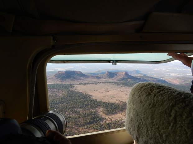 Bears Ears National Monument in southeastern Utah is named for these two distinctivebuttes. Aspen-based conservation group EcoFlight took journalists up in the air Sunday to get a bird's-eye view of the landscape.