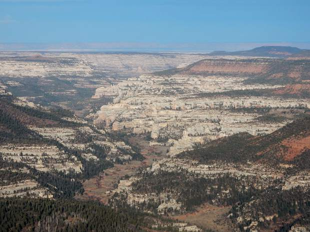 A view of serpentine canyons that create endless mazes throughout Bears Ears National Monument.