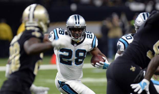 Carolina Panthers running back Jonathan Stewart (28) carries in the first half of an NFL football game against the New Orleans Saints in New Orleans, Sunday, Jan. 7, 2018. (AP Photo/Bill Feig)