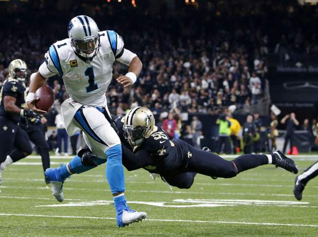 New Orleans Saints linebacker Jonathan Freeny (55) sacks Carolina Panthers quarterback Cam Newton (1) on a third down, forcing the Panthers to kick a field goal, in the second half of an NFL football game in New Orleans, Sunday, Jan. 7, 2018. (AP Photo/Butch Dill)