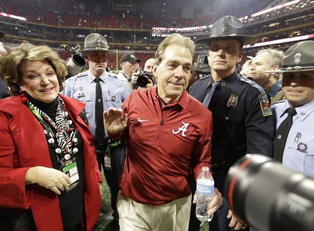 Alabama head coach Nick Saban celebrates after overtime of the NCAA college football playoff championship game against Georgia, Monday, Jan. 8, 2018, in Atlanta. Alabama won 26-23. (AP Photo/David J. Phillip)