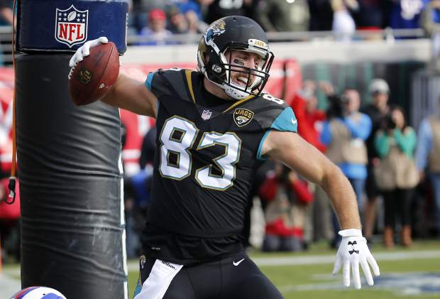 Jacksonville Jaguars tight end Ben Koyack (83) spikes the ball after scoring a touchdown on a 1-yard pass play against the Buffalo Bills in the second half of an NFL wild-card playoff football game, Sunday, Jan. 7, 2018, in Jacksonville, Fla. (AP Photo/Stephen B. Morton)
