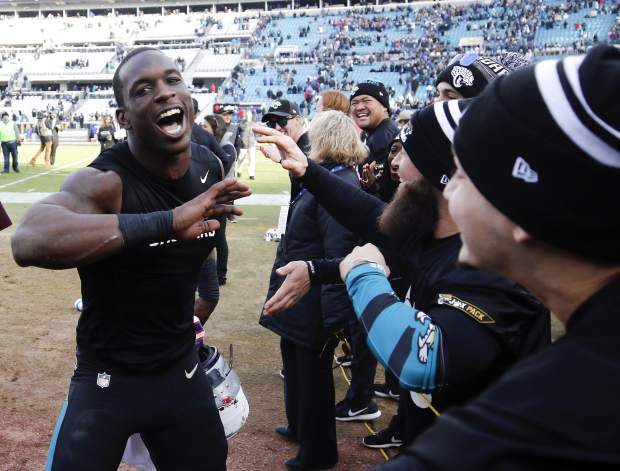 Jacksonville Jaguars defensive end Lerentee McCray, left, celebrates with fans as he comes off the field after defeating the Buffalo Bills in an NFL wild-card playoff football game, Sunday, Jan. 7, 2018, in Jacksonville, Fla. (AP Photo/Stephen B. Morton)