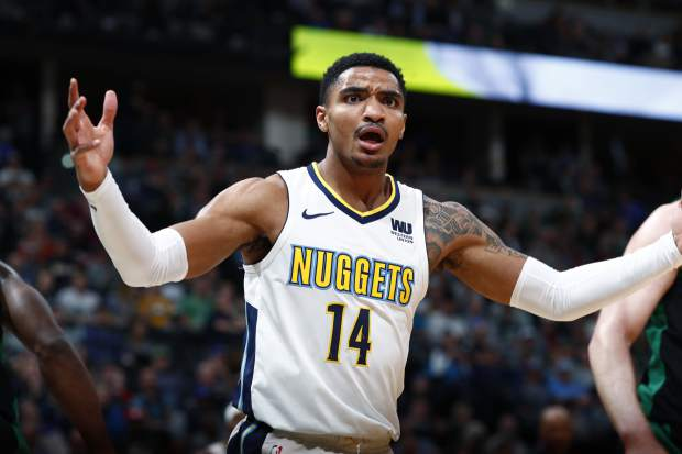 Denver Nuggets guard Gary Harris argues with referees for a call after driving the lane against the Boston Celtics in the first half of an NBA basketball game Monday, Jan. 29, 2018, in Denver. (AP Photo/David Zalubowski)