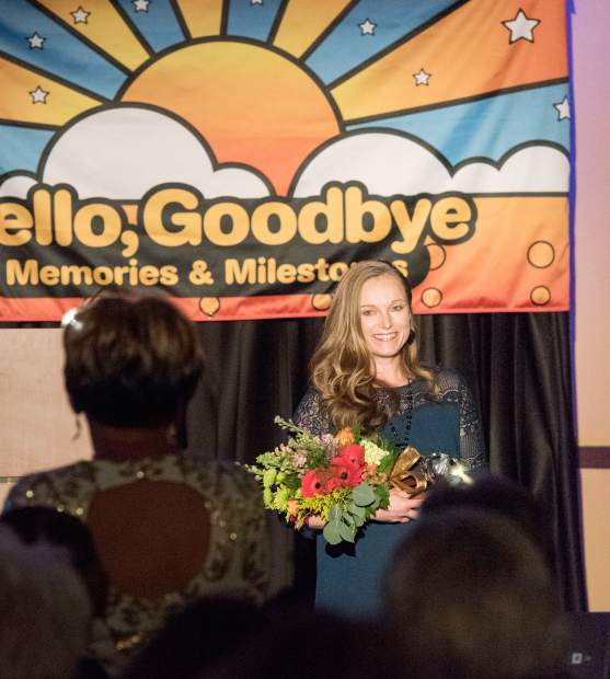 ATHENA Young Professional recipient Crystal Young accepts her award Saturday night during the Glenwood Springs Chamber Resort Association awards gala at the Hotel Colorado.