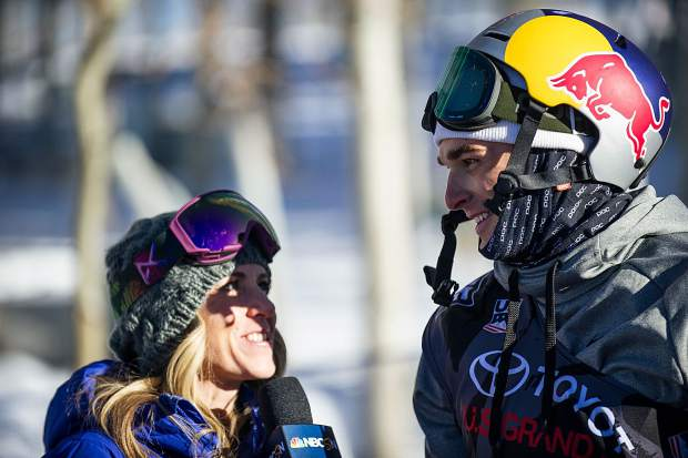 U.S.skier Nick Goepper getting interviewed after his second run for the men's slopestyle finals in Snowmass on Sunday. Goepper took second place with a score of 93.60.