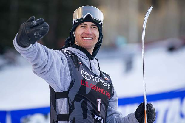 Quinn Wolferman still in good spirits after taking a fourth place finish in the men's ski slopestyle finals in Snowmass on Sunday.