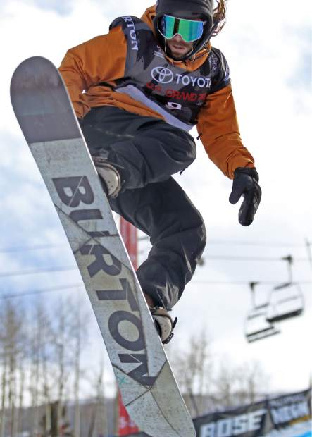 Danny Davis competes in Thursday's men's snowboard halfpipe qualifier at the U.S. Grand Prix in Snowmass.