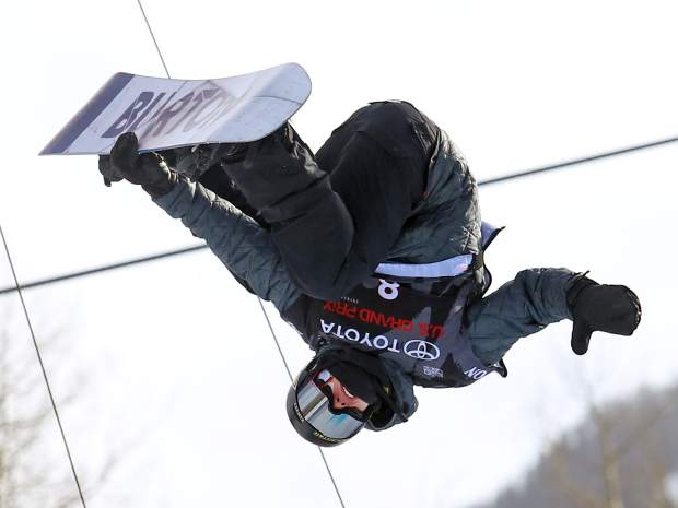 Eagle's Jake Pates competes in Thursday's men's snowboard halfpipe qualifier at the U.S. Grand Prix in Snowmass. Pates was third in his heat and will compete in Saturday's final.