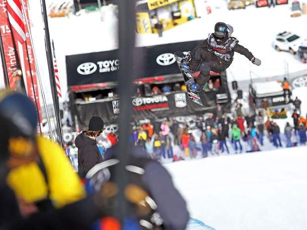 Louie Vito competes in Thursday's men's snowboard halfpipe qualifier at the U.S. Grand Prix in Snowmass. Vito finished 10th in his heat and didn't make Saturday's finals.