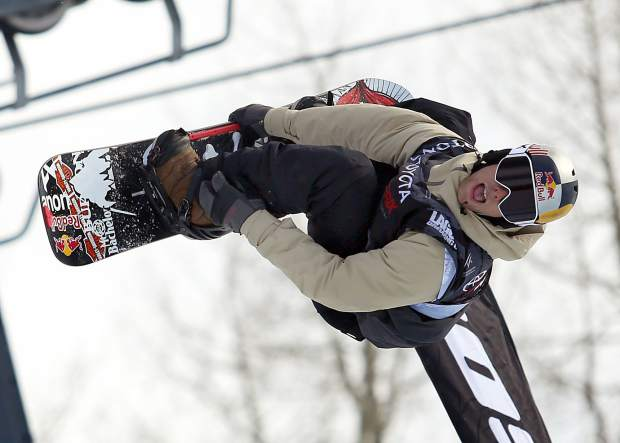 Ben Ferguson competes in Thursday's men's snowboard halfpipe qualifier at the U.S. Grand Prix in Snowmass. Ferguson finished second to Shaun White in his heat and will compete in Saturday's final.
