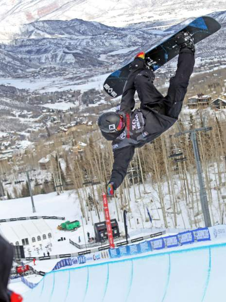 Canada's Trevor Niblett competes in Thursday's men's snowboard halfpipe qualifier at the U.S. Grand Prix in Snowmass. Niblett did not qualify for finals.