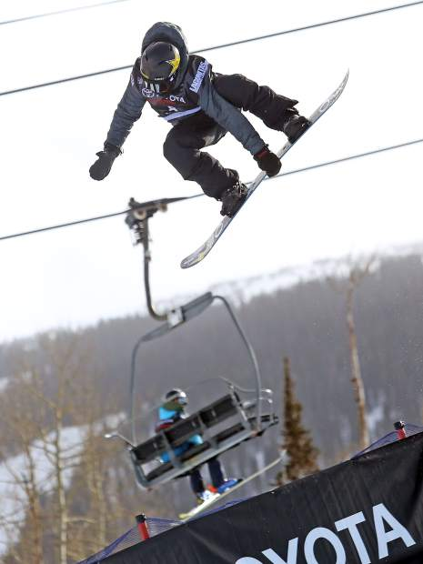 Eagle's Jake Pates competes in Thursday's men's snowboard halfpipe qualifier at the U.S. Grand Prix in Snowmass.