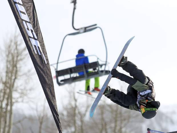 Australia's Nathan Johnstone competes in Thursday's men's snowboard halfpipe qualifier at the U.S. Grand Prix in Snowmass. Johnstone did not make finals.