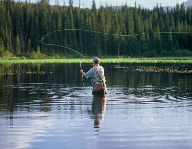 A fly fisherman tests the waters, fly fishing, while smoking a pipe casting between the lily pads in summer at Red Rock Lake, Indian Peaks Wilderness, Rosevelt National Forest, Rocky Mountains, Estes Park, Colorado, USA 80517