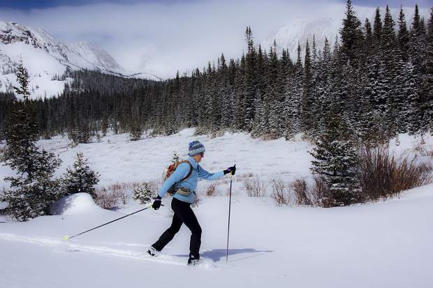 A cross-country skier in the Rocky Mountains.