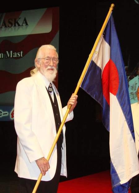 Al Maggard carries the Colorado flag at an Elks Grand Lodge convention in Anaheim, California.